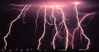 NOAA Photolibrary image of multiple lightning strikes