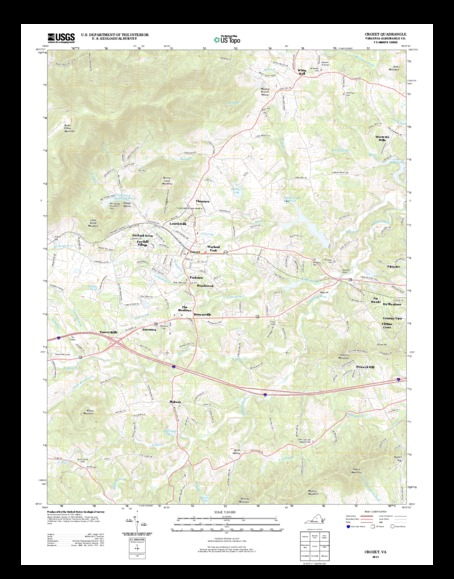 reduced resolution topo map of Crozet, VA 7.5minute quadrangle