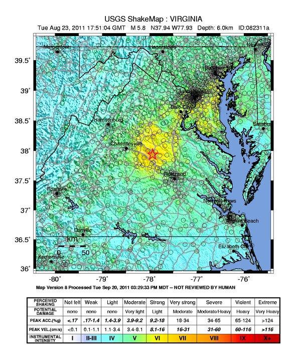 Virginia 2011 Earthquake Map