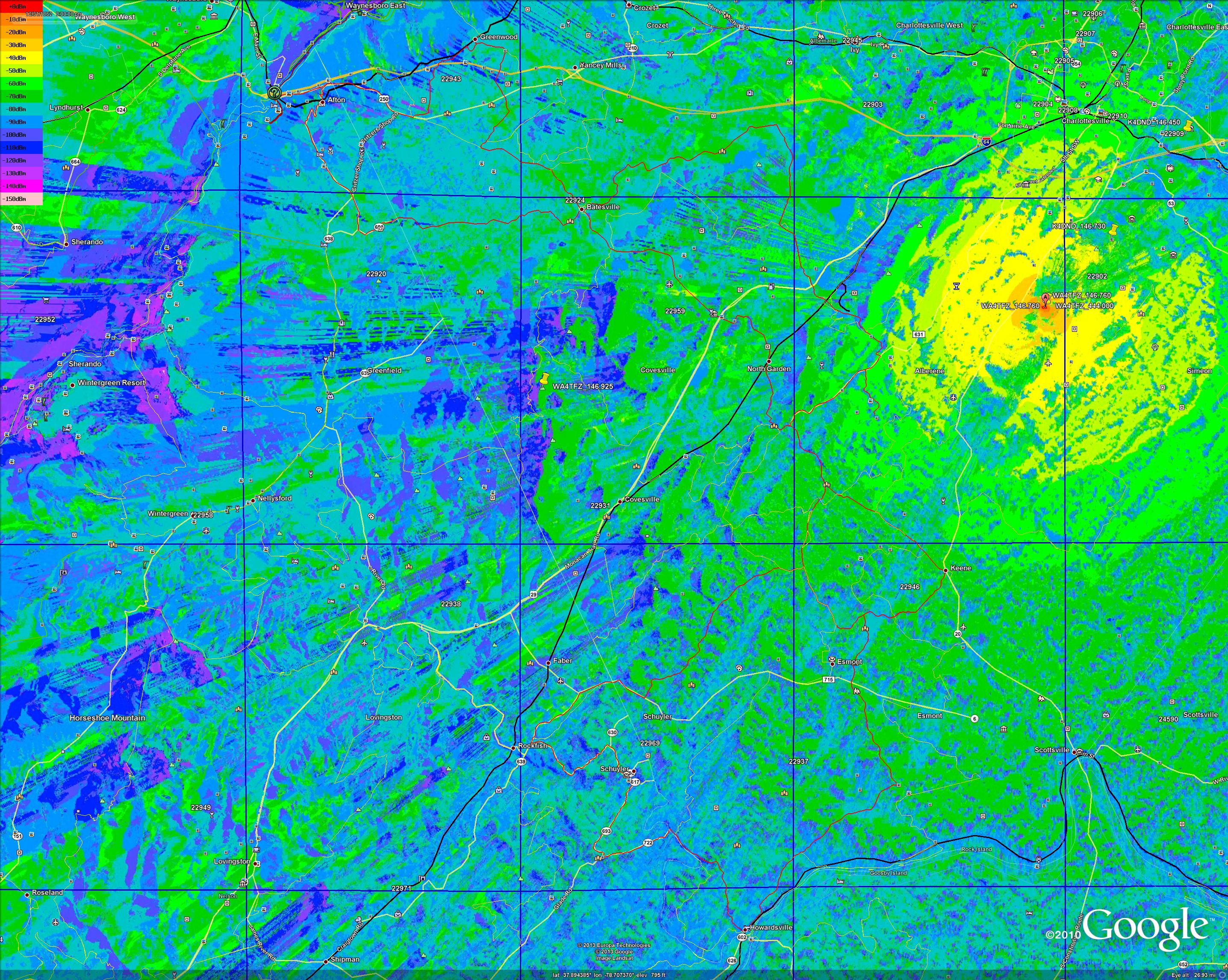 Propagation signal stength map