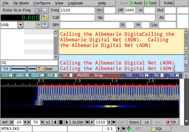 Image of fldigi calling Albemarle Digital Net.