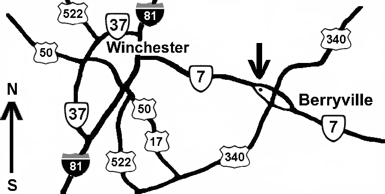 Map to berryville hamfest near intersection of route 7 and 340 a bit east of Winchester, VA