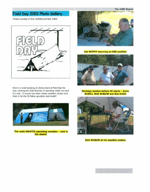 Sample page from beacon with pictures from Field Day 2003 including Joe W2PVY, W2EIU, W4BZW,K4DU, and the tents