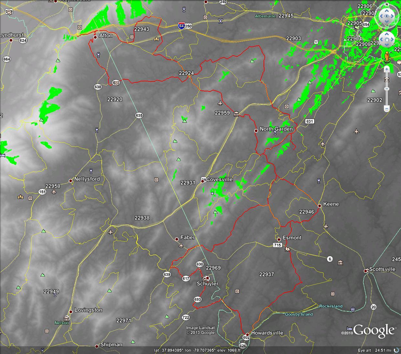 LOS Propagation Map K4DND_146.450 over Gran Fondo Virginia Route