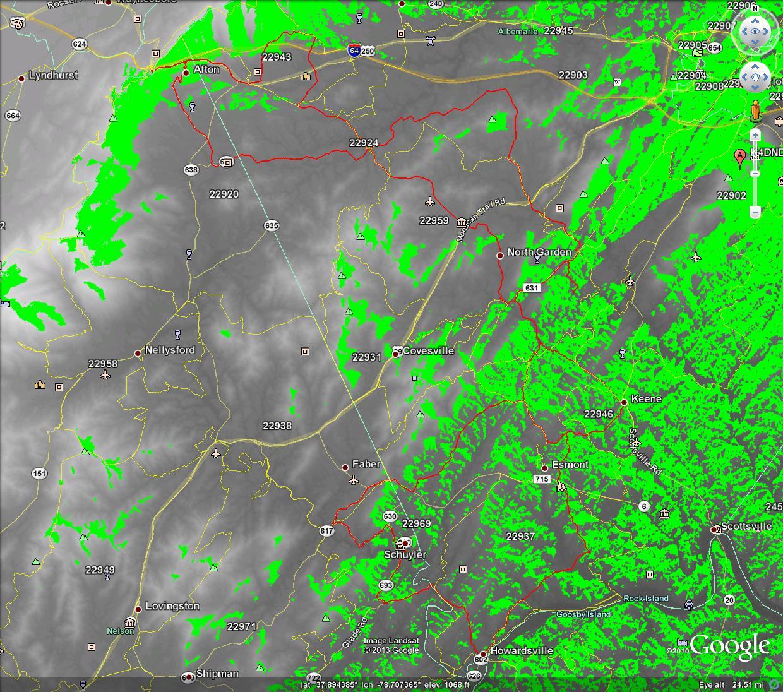 LOS Propagation Map K4DND_146.730 over Gran Fondo Virginia Route