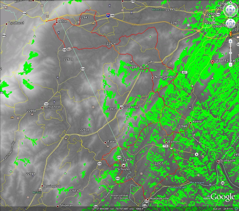 LOS Propagation Map WA4TFZ_146.760 over Gran Fondo Virginia Route