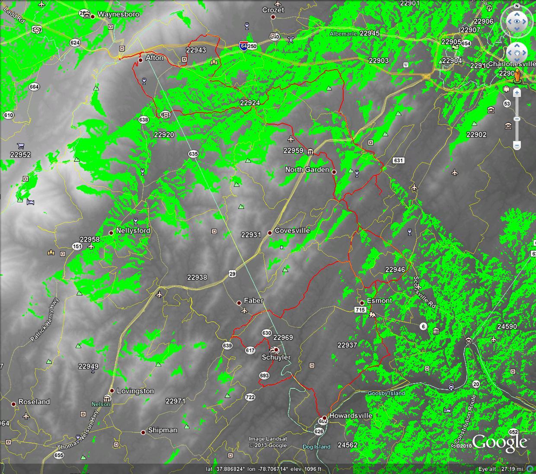 LOS Propagation Map WA4TFZ_146.895 over Gran Fondo Virginia Route