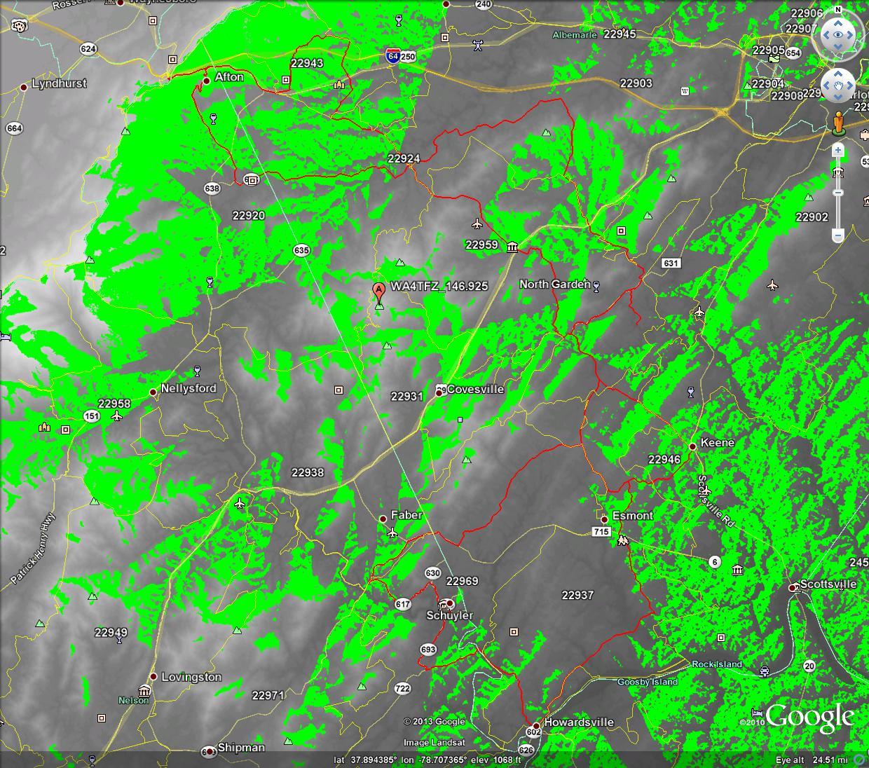 LOS Propagation Map WA4TFZ_146.925 over Gran Fondo Virginia Route