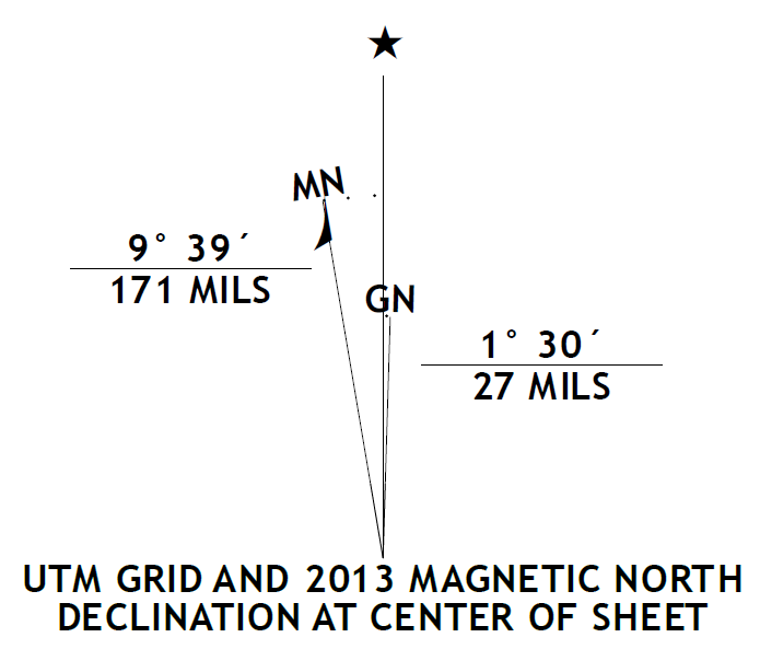 Magnetic declination from topo map