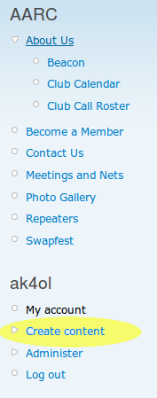 Sidebar image showing 'create content' option