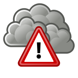 Weather alert symbol with exclamation point triangle over storm clouds